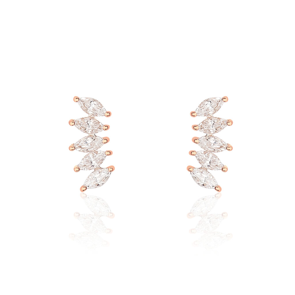 Bijoux D'oreilles Edma Or Rose Oxyde De Zirconium - Ear cuffs Femme | Histoire d'Or