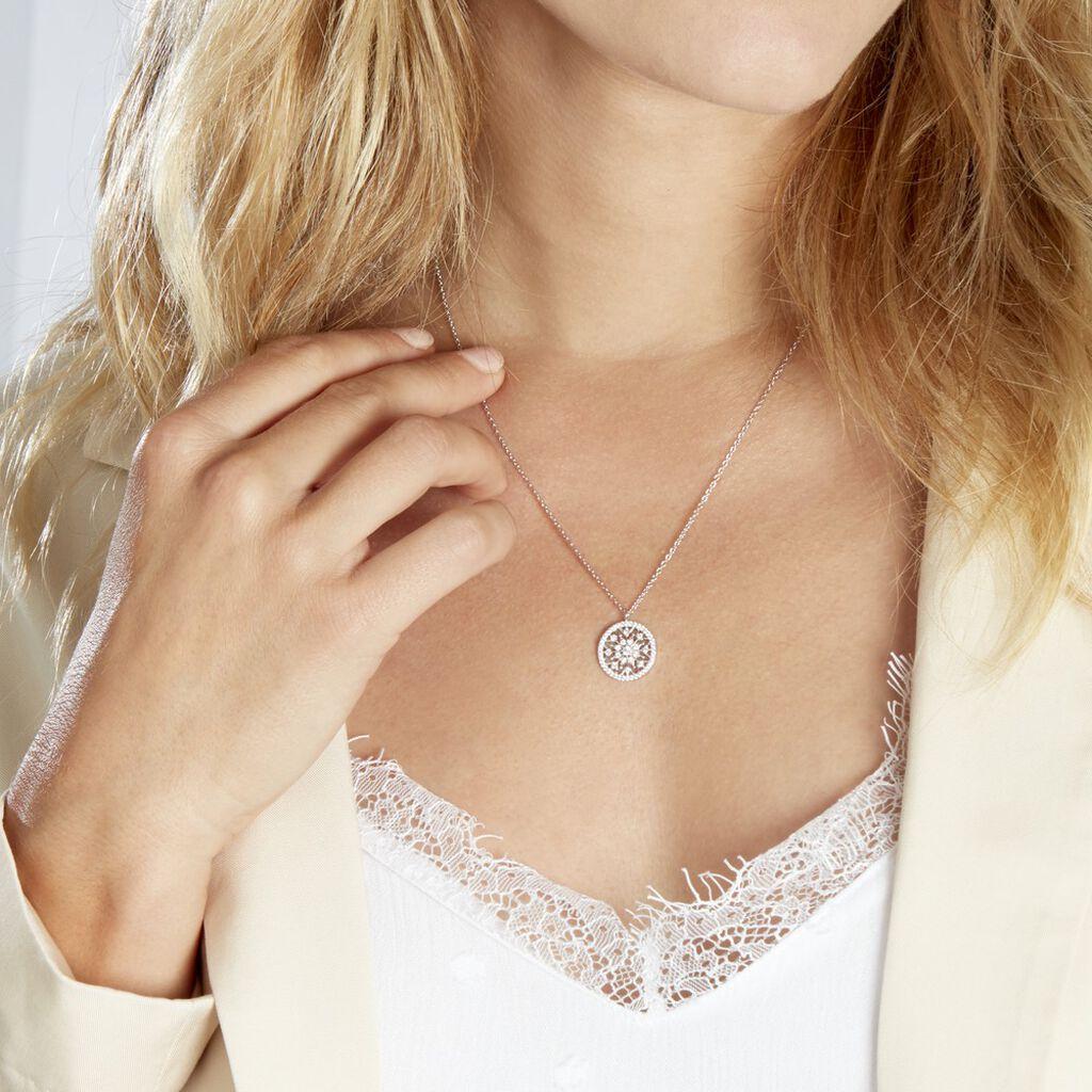 Collier Brunilda Argent Blanc Oxyde De Zirconium - Colliers fantaisie Femme   Histoire d'Or