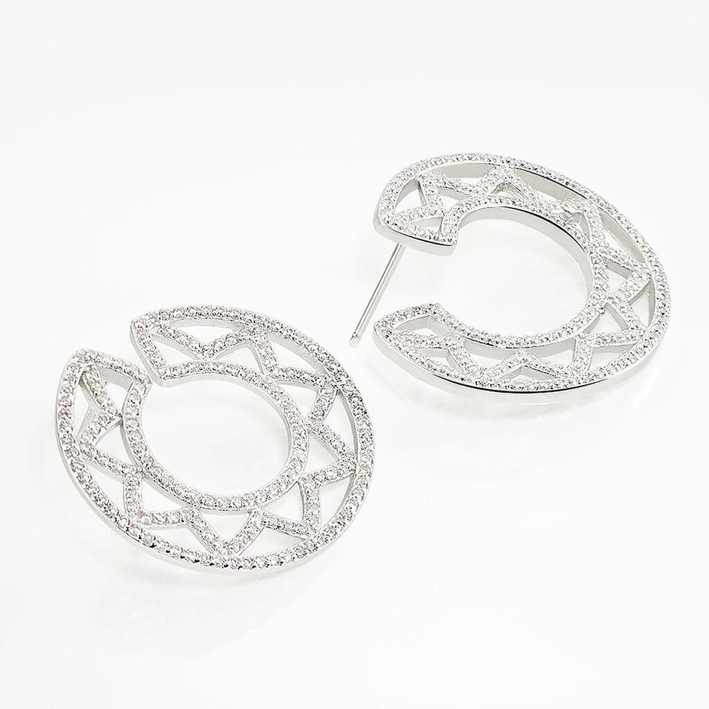 Boucles D'oreilles Argent Rhodie Abia Cercle Oxyde - Boucles d'oreilles pendantes Femme | Histoire d'Or