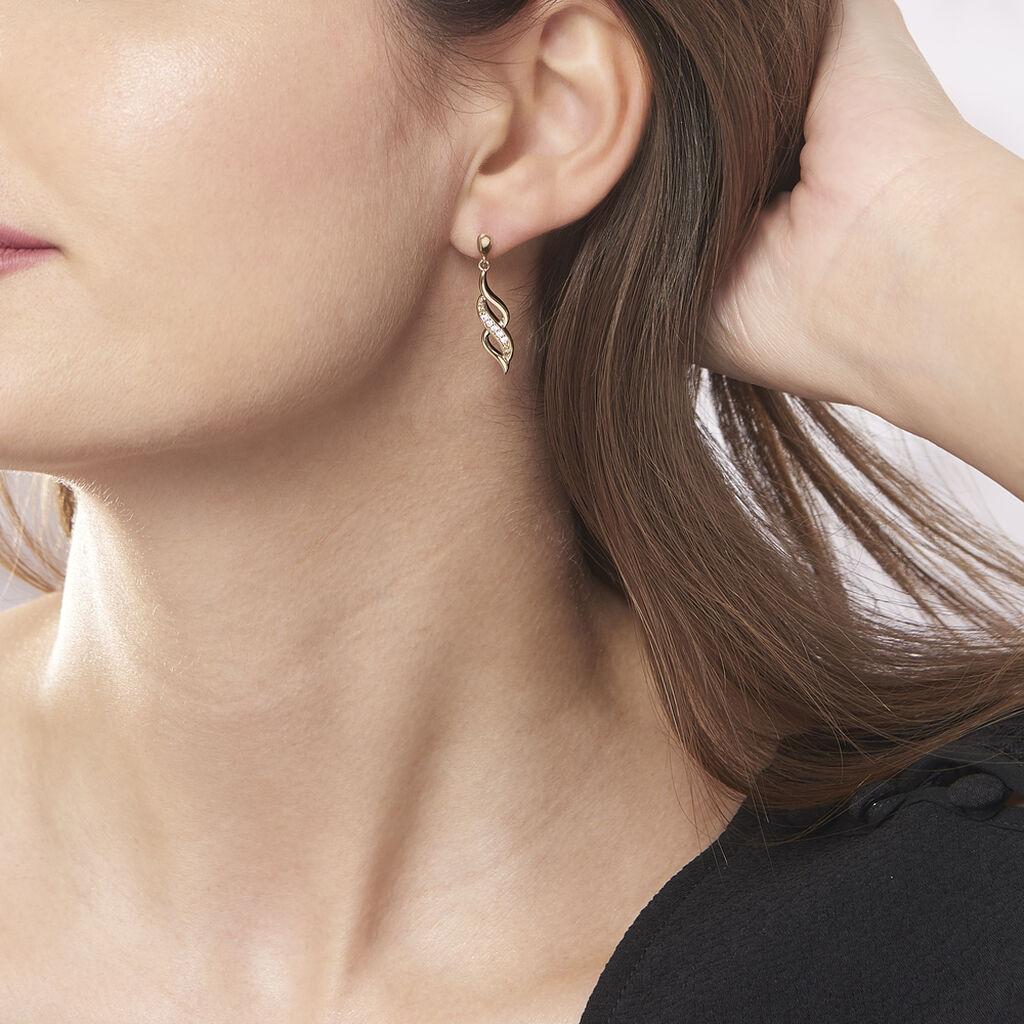 Boucles D'oreilles Pendantes Ishaae Plaque Or Jaune Oxyde De Zirconium - Boucles d'oreilles fantaisie Femme   Histoire d'Or