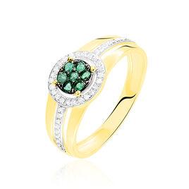 Bague Lise-laure Or Jaune Emeraude Et Diamant - Bagues avec pierre Femme   Histoire d'Or