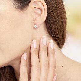 Boucles D'oreilles Puces Eclat Argent Blanc Oxyde De Zirconium - Boucles d'Oreilles Etoile Femme   Histoire d'Or
