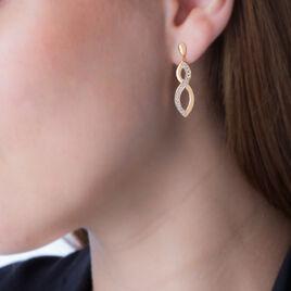 Boucles D'oreilles Pendantes Venant Plaque Or Jaune Oxyde De Zirconium - Boucles d'oreilles fantaisie Femme | Histoire d'Or