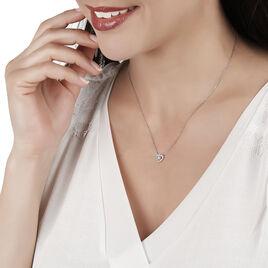 Collier Ihsene Or Blanc Oxyde De Zirconium - Colliers Coeur Femme | Histoire d'Or