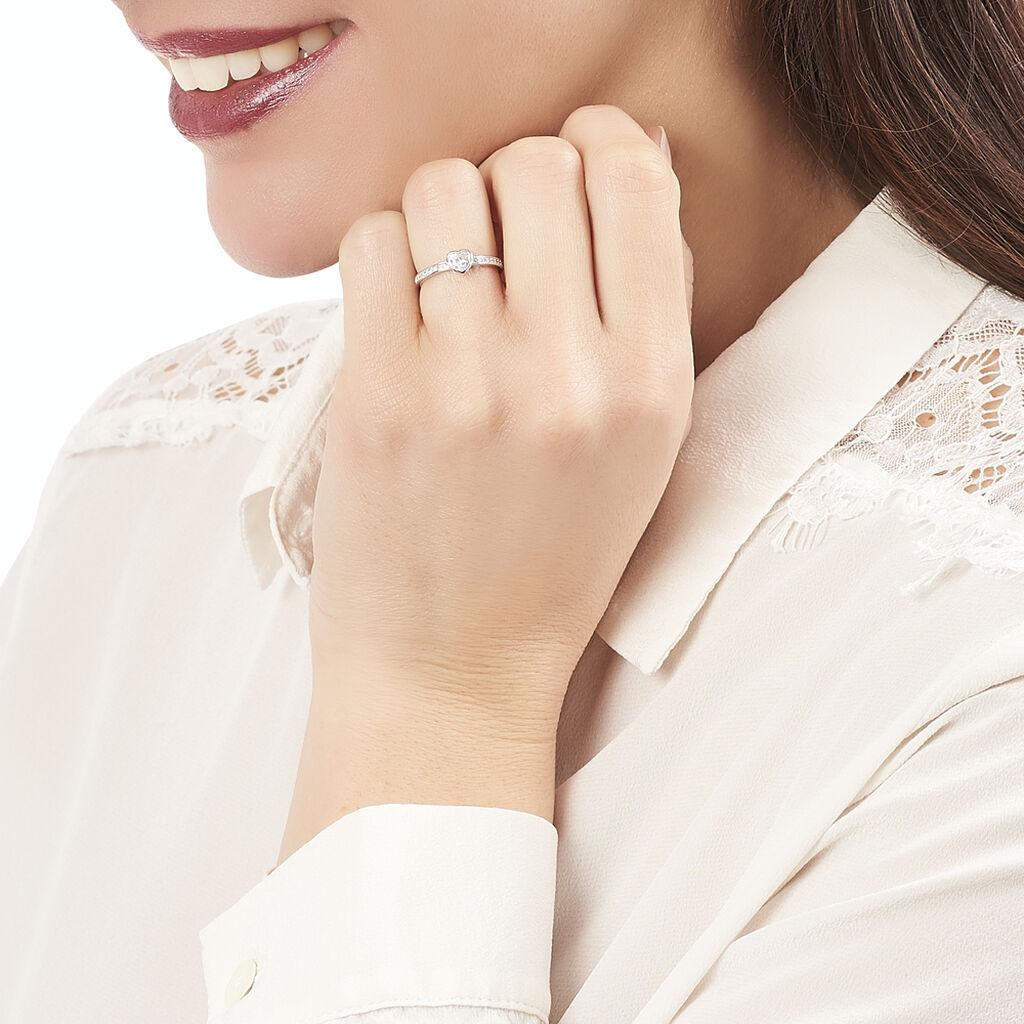 Bague Solitaire Mathylda Argent Blanc Oxyde De Zirconium - Bagues Coeur Femme   Histoire d'Or
