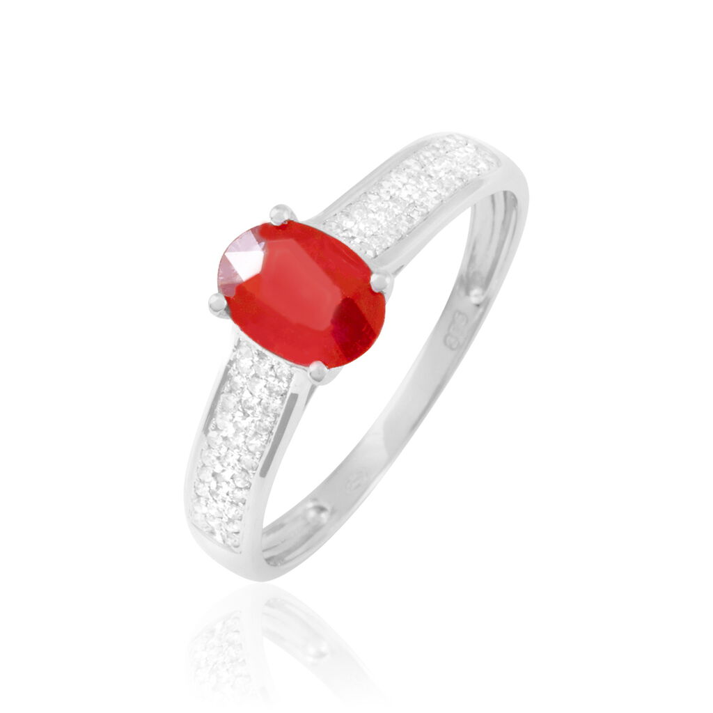 Bague Crista Or Blanc Rubis Et Diamant - Bagues avec pierre Femme   Histoire d'Or