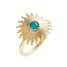 Bague Plaque Or Boecia Soleil Pierre Bleue - Bagues avec pierre Femme | Histoire d'Or
