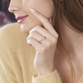 Bague Solitaire Titemae Argent Blanc Oxyde De Zirconium - Bagues solitaires Femme   Histoire d'Or