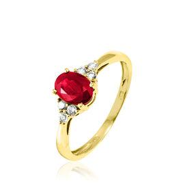 Bague Lea Or Jaune Rubis Et Diamant - Bagues avec pierre Femme   Histoire d'Or