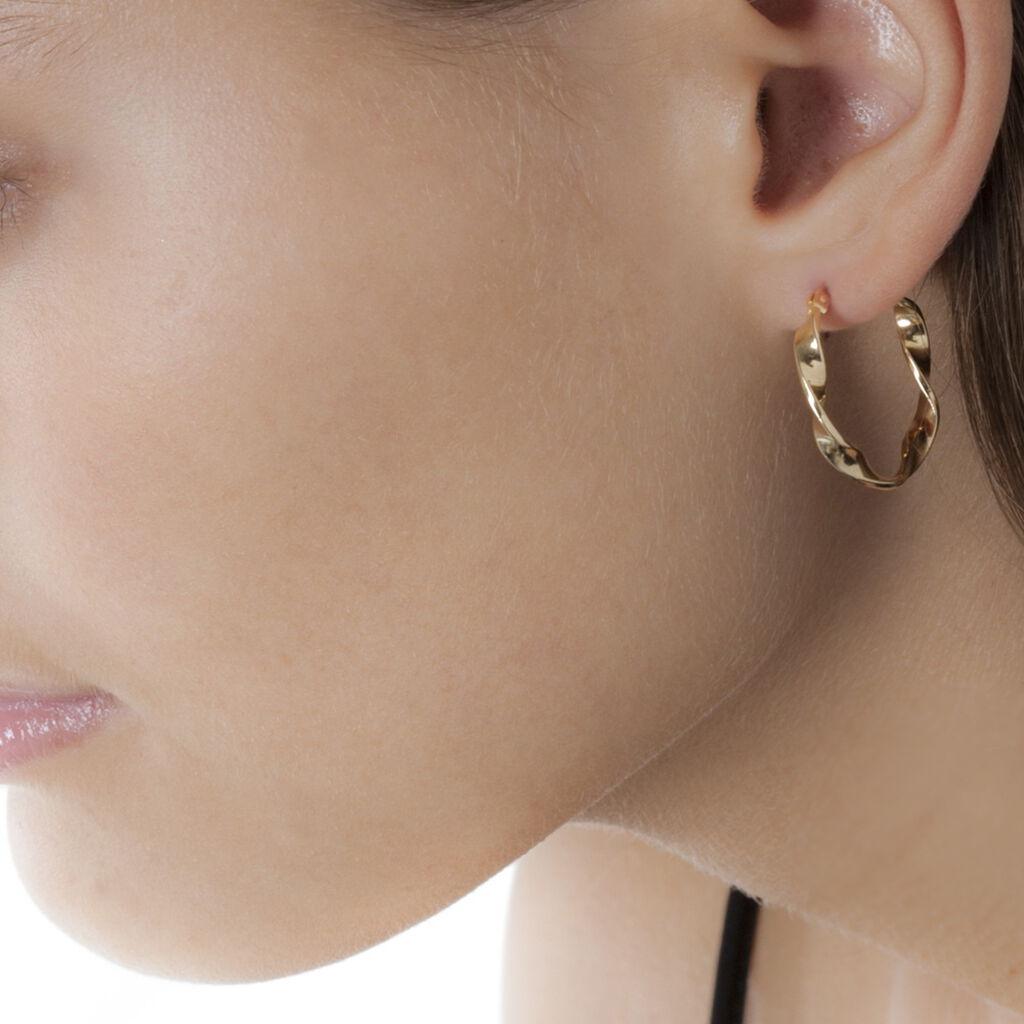 Créoles Lenna Torsadée Plaque Or Jaune - Boucles d'oreilles créoles Femme   Histoire d'Or