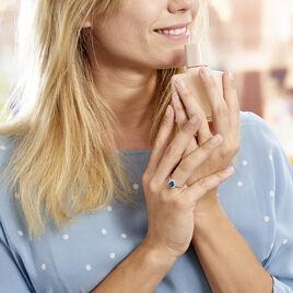 Bague Or Blanc Quintilla Topaze London Blue Et Oxydes - Bagues avec pierre Femme | Histoire d'Or