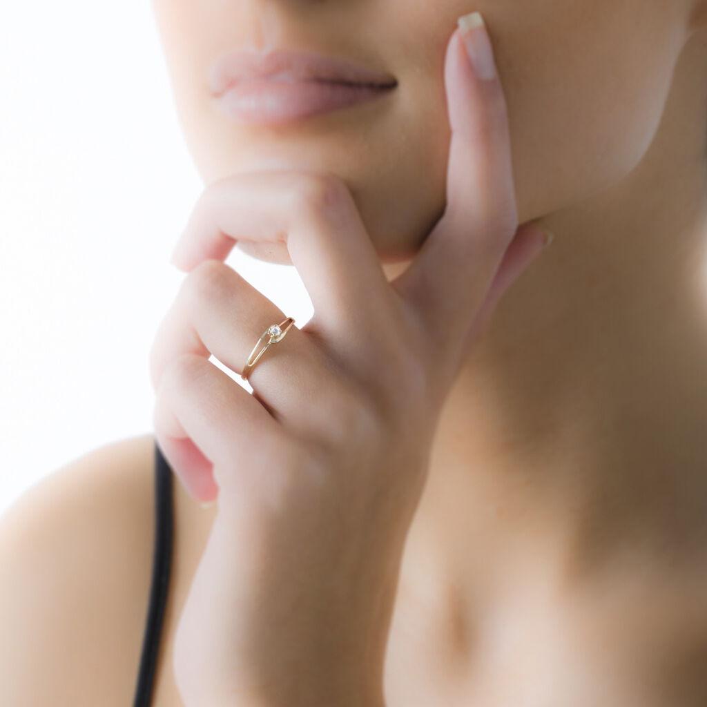 Bague Veroucha Or Jaune Oxyde De Zirconium - Bagues solitaires Femme   Histoire d'Or