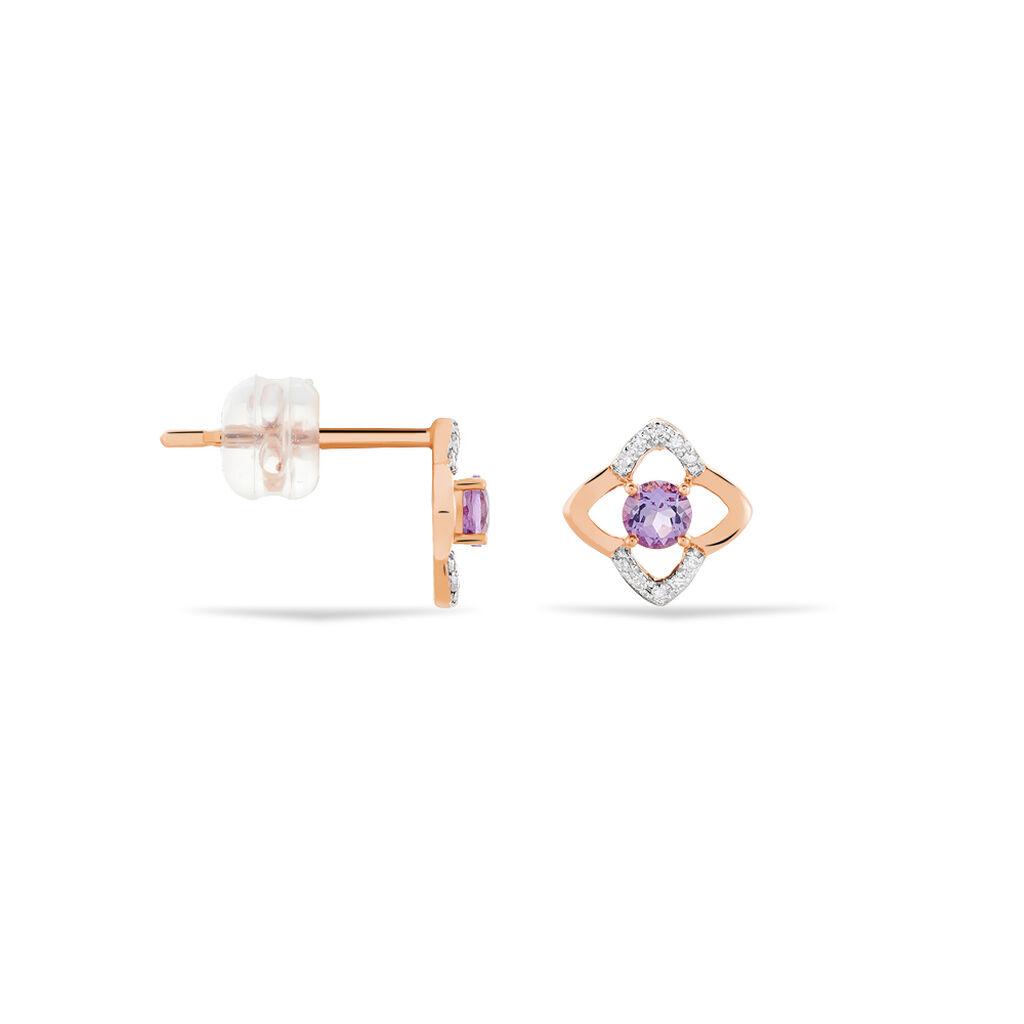 Boucles D'oreilles Puces Louna Or Rose Amethyste Et Diamant - Boucles d'Oreilles Coeur Femme   Histoire d'Or