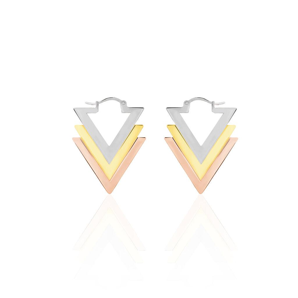 Boucles D'oreilles Pendantes Eleora Acier Tricolore - Boucles d'oreilles fantaisie Femme | Histoire d'Or