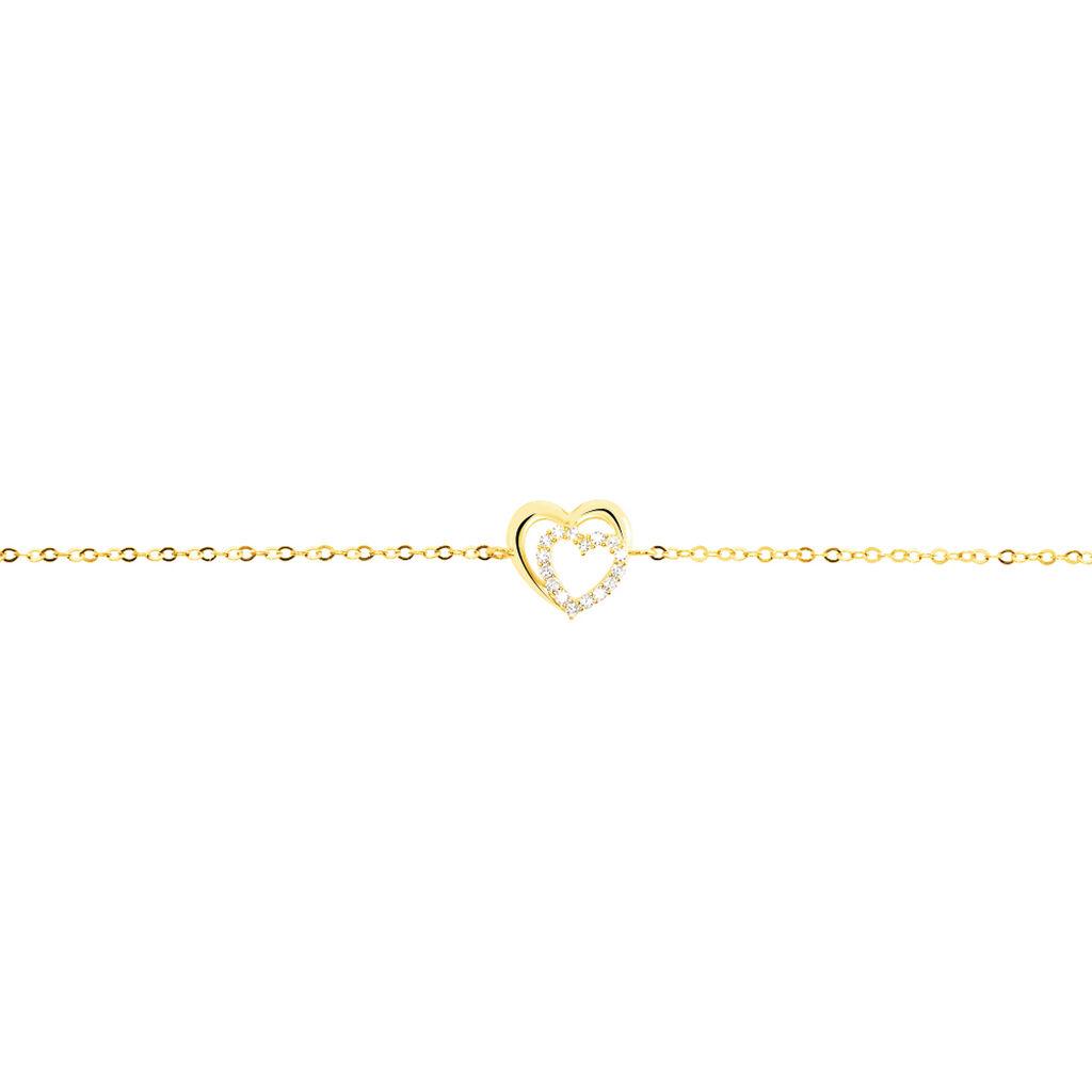 Bracelet Constancia Or Jaune Oxyde De Zirconium - Bracelets Coeur Femme   Histoire d'Or
