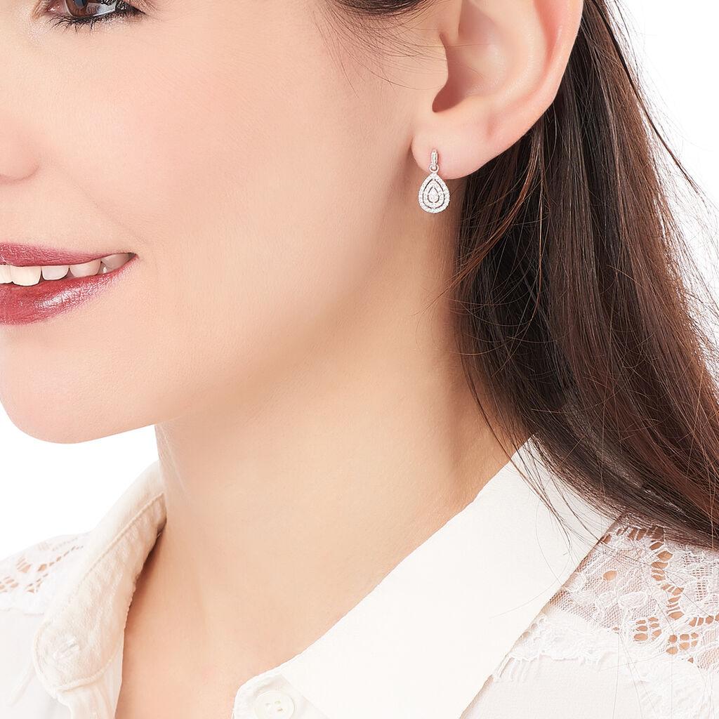 Boucles D'oreilles Pendantes Lysa Argent Blanc Oxyde De Zirconium - Boucles d'oreilles fantaisie Femme | Histoire d'Or