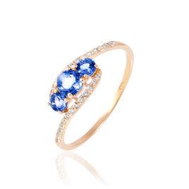 Bague Chloe Or Rose Saphir Et Diamant - Bagues avec pierre Femme | Histoire d'Or