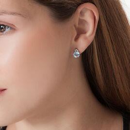 Boucles D'oreilles Puces Or Blanc Topaze Et Diamant - Clous d'oreilles Femme   Histoire d'Or