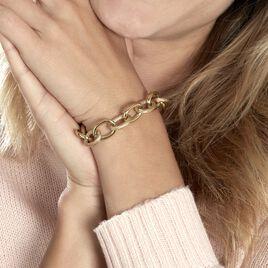 Bracelet Aelia Maille Alternee Acier Jaune - Bracelets fantaisie Femme   Histoire d'Or