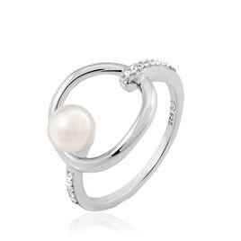 Bague Tiguide Argent Blanc Perle D'imitation Et Oxyde De Zirconium - Bagues avec pierre Femme | Histoire d'Or