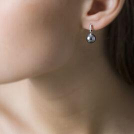Boucles D'oreilles Puces Gatiene Or Blanc Perle De Culture Et Diamant - Boucles d'oreilles pendantes Femme   Histoire d'Or