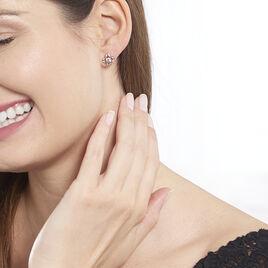 Boucles D'oreilles Puces Emila Or Rose Oxyde De Zirconium - Clous d'oreilles Femme   Histoire d'Or