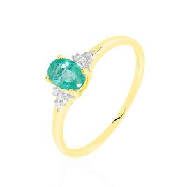 Bague Marie Or Jaune Emeraude Et Diamant - Bagues avec pierre Femme | Histoire d'Or
