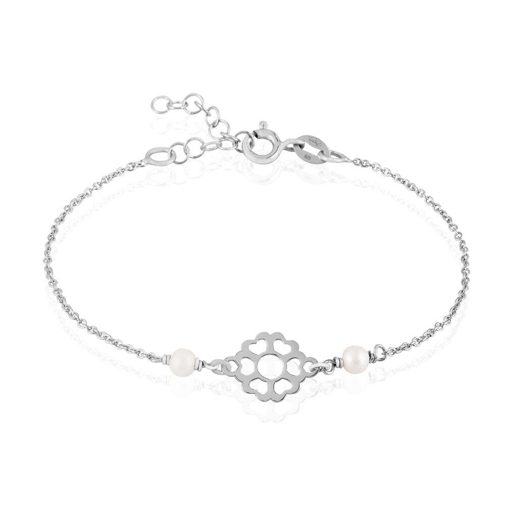Bracelet Florita Argent Blanc Pierre De Synthese - Bracelets Coeur Femme | Histoire d'Or