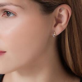 Boucles D'oreilles Pendantes Aini Or Bicolore Diamant - Boucles d'oreilles pendantes Femme | Histoire d'Or