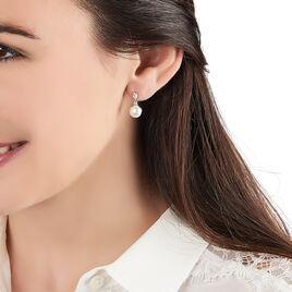 Boucles D'oreilles Pendantes Melya Argent Perle De Culture Et Oxyde - Boucles d'oreilles fantaisie Femme | Histoire d'Or