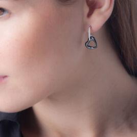 Boucles D'oreilles Pendantes Elodie Argent Oxyde Et Céramique - Boucles d'Oreilles Coeur Femme | Histoire d'Or