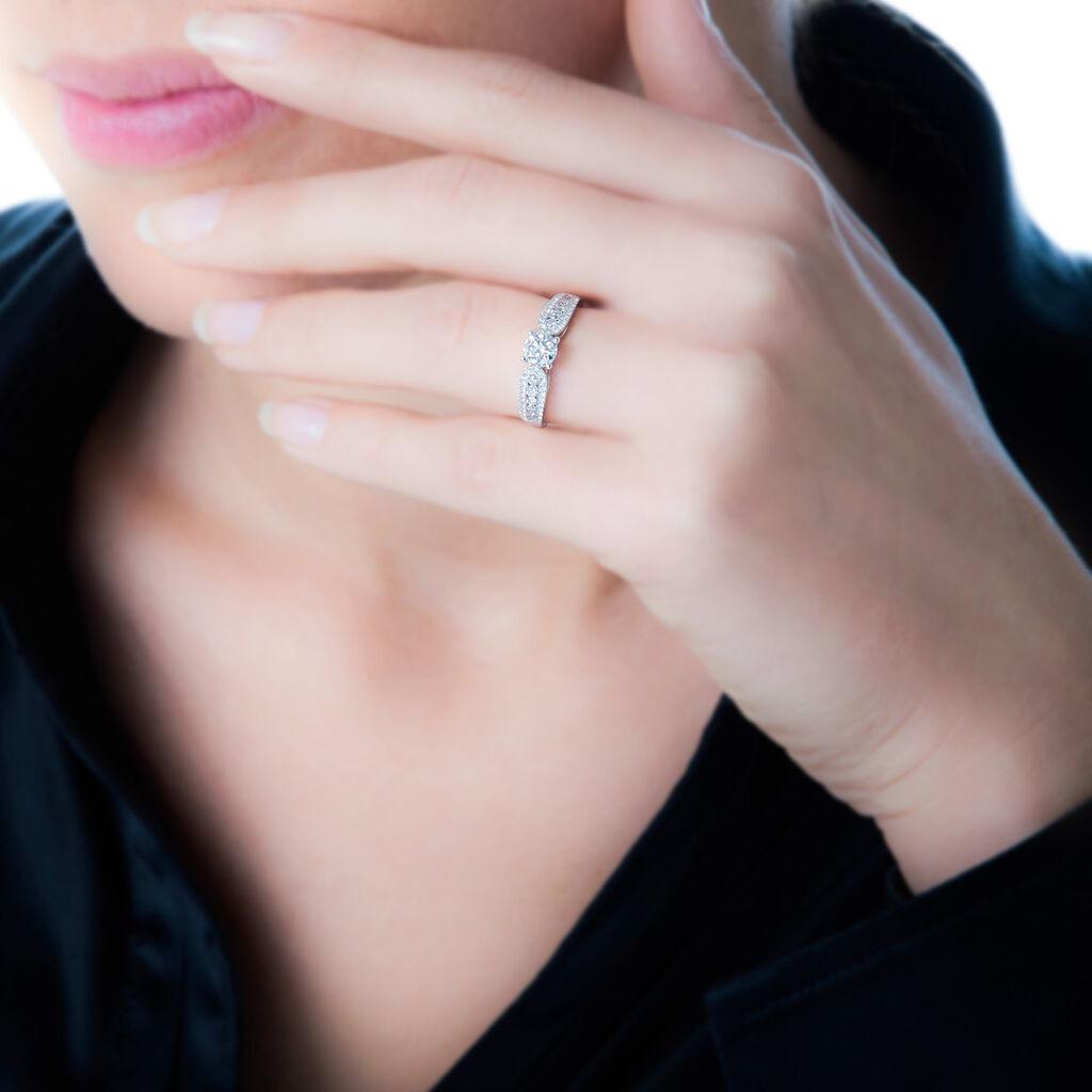 Bague Solitaire Stockholm Or Blanc Diamant - Bagues avec pierre Femme   Histoire d'Or