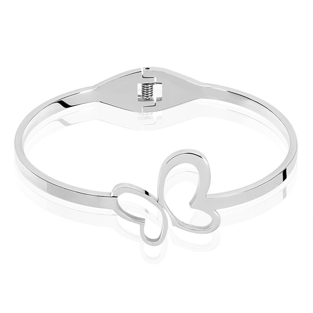 Bracelet Jonc Laurencine Acier Blanc - Bracelets Papillon Femme   Histoire d'Or