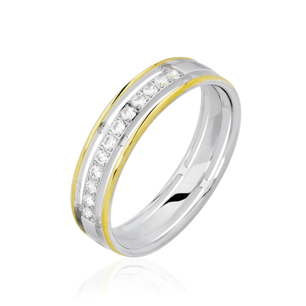 Alliance Serti Grains Ajoures Or Bicolore Diamant - Alliances Femme   Histoire d'Or