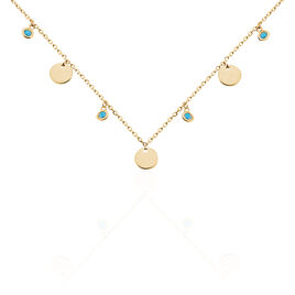 Collier Caterie Plaque Or Jaune Turquoise - Colliers fantaisie Femme | Histoire d'Or