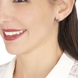 Boucles D'oreilles Puces Anais Or Blanc Perle De Culture Et Oxyde - Clous d'oreilles Femme   Histoire d'Or