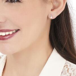 Boucles D'oreilles Puces Eolande Or Blanc Perle De Culture Et Oxyde - Clous d'oreilles Femme | Histoire d'Or