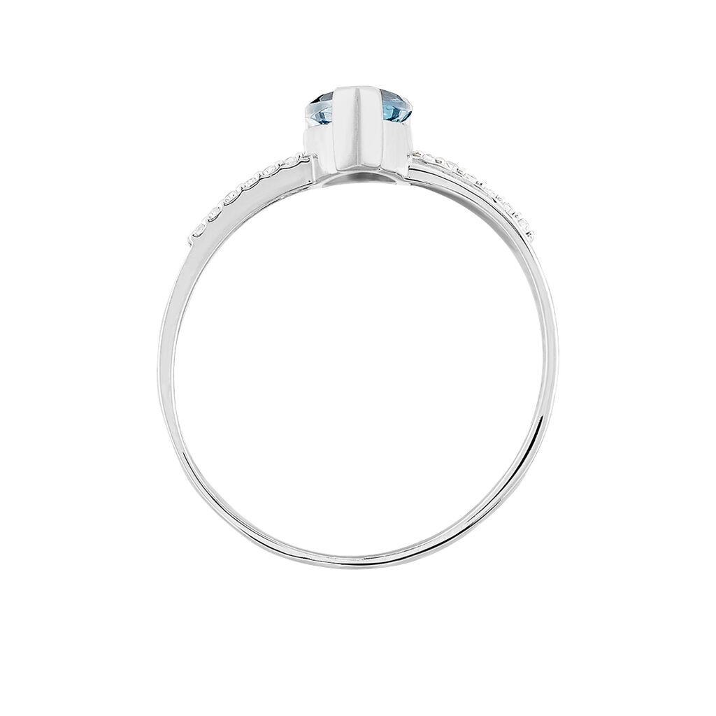 Bague Teresa Or Blanc Topaze Et Diamant - Bagues avec pierre Femme   Histoire d'Or
