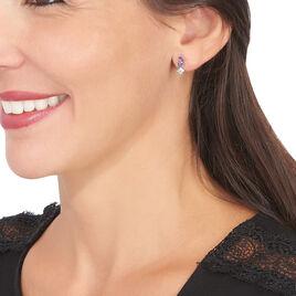 Boucles D'oreilles Puces Raika Or Blanc Amethyste Et Topaze - Clous d'oreilles Femme | Histoire d'Or