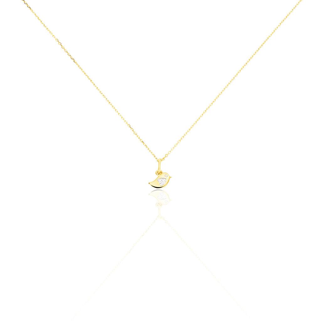 Collier Daphnis Oiseau Or Jaune Diamant - Colliers Naissance Enfant   Histoire d'Or