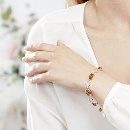 Bracelet Aida Argent Blanc Ambre - Bijoux Femme | Histoire d'Or