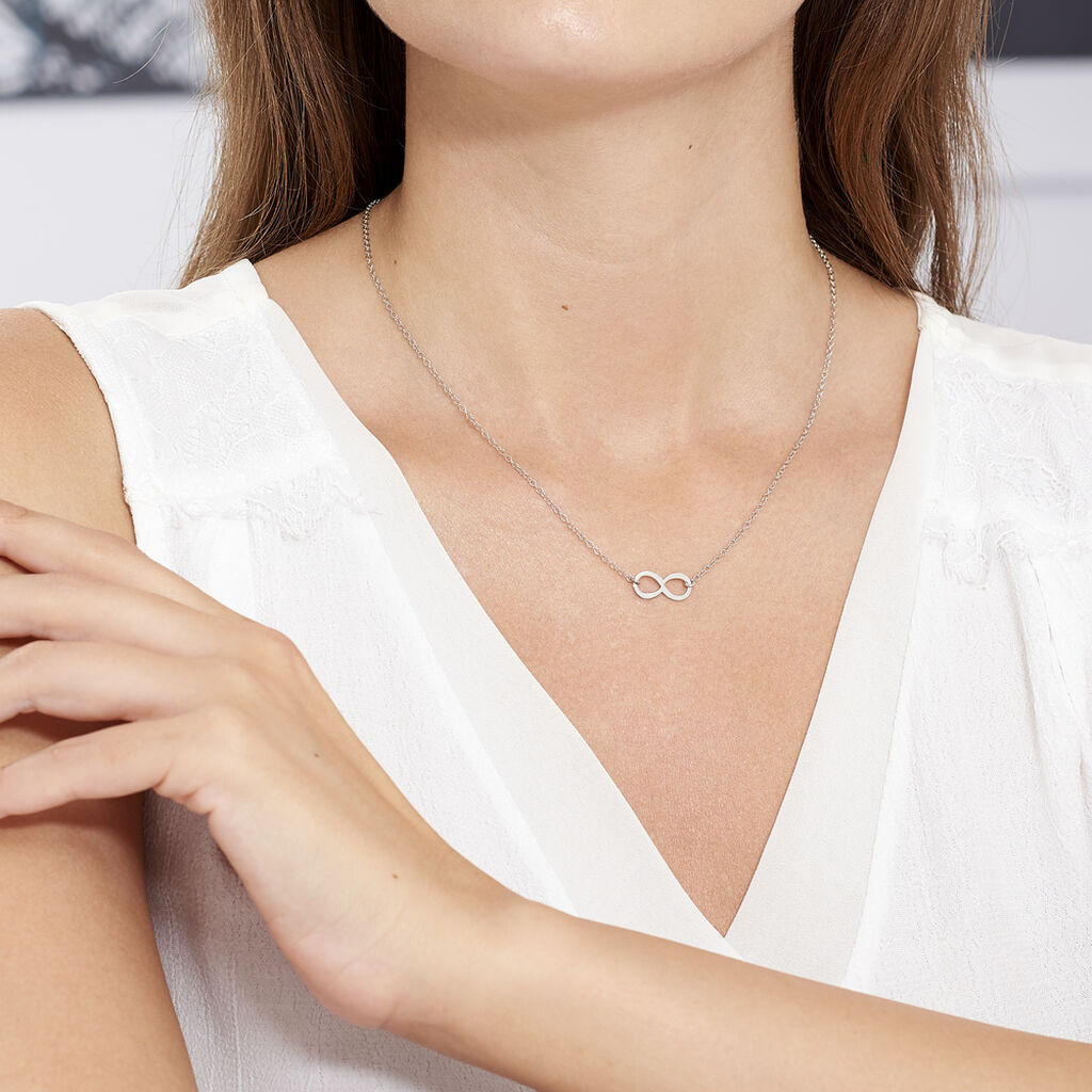 Collier Helsa Argent Blanc - Colliers Infini Femme   Histoire d'Or