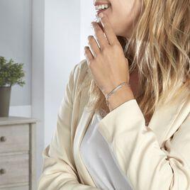 Bracelet Identité Cleona Maille Alternee 1/3 Argent Blanc - Bracelets fantaisie Femme   Histoire d'Or