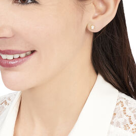 Boucles D'oreilles Puces Hacibaae Or Jaune Perle De Culture - Clous d'oreilles Femme   Histoire d'Or