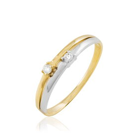 Bague Superposition Or Bicolore Diamant - Bagues avec pierre Femme | Histoire d'Or