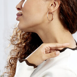 Créoles Anne Lisse Argent Rose - Boucles d'oreilles créoles Femme | Histoire d'Or