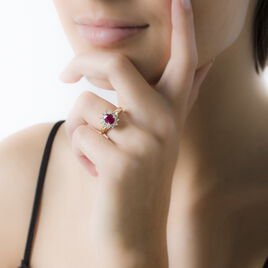 Bague Vladimir Or Jaune Rubis Et Diamant - Bagues avec pierre Femme   Histoire d'Or