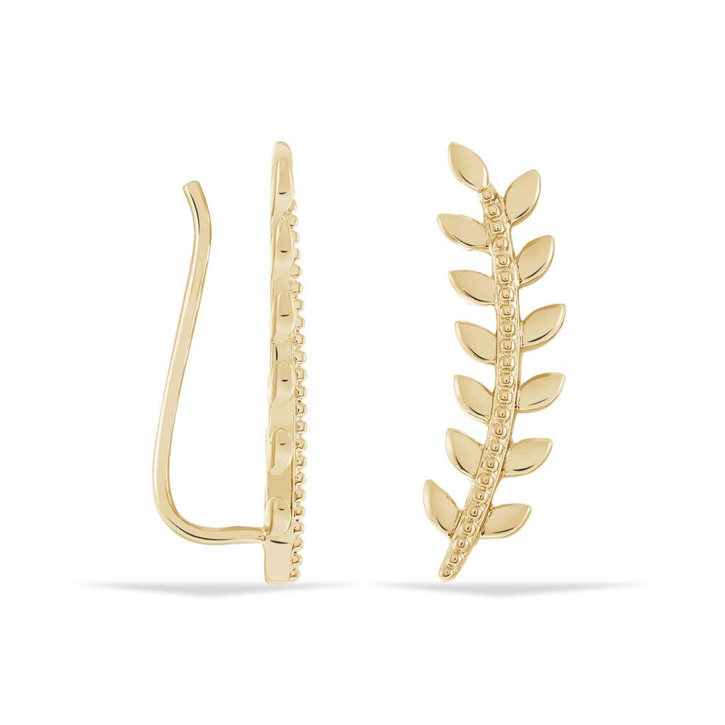 Bijoux D'oreilles Folia Plaque Or Jaune - Boucles d'Oreilles Plume Femme | Histoire d'Or