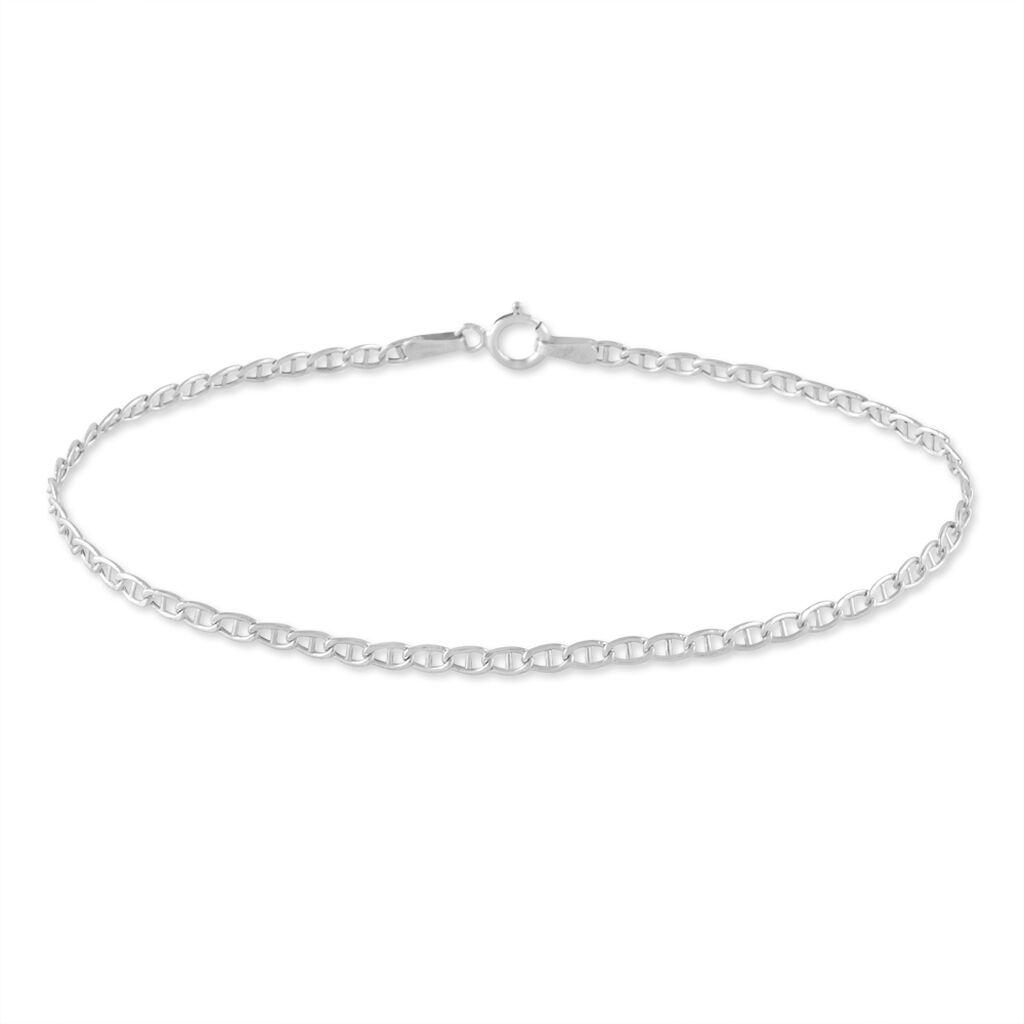 Bracelet Capucin Maille Marine Plate Or Blanc - Bracelets chaîne Femme | Histoire d'Or