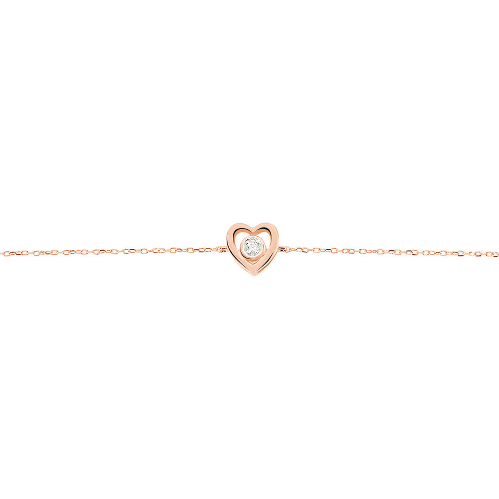 Bracelet Fidelia Or Rose Diamant - Bracelets Coeur Femme   Histoire d'Or